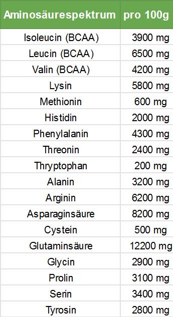 Pflanzliche Proteinquellen-Aminosaeureprofil Erbsenprotein