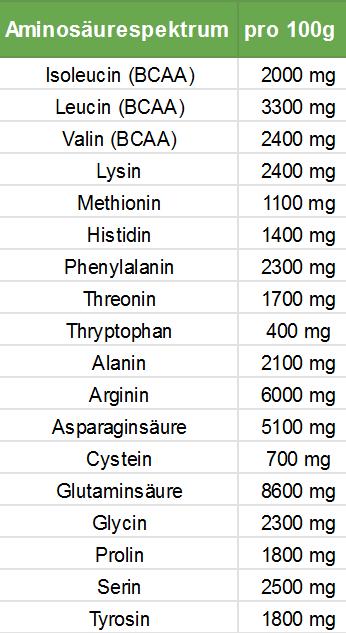 Pflanzliches Protein-Hanfprotein Aminosäureprofil